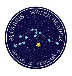 Aquarius zodiac constellation in space round icon vector