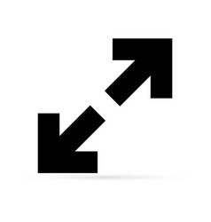 Arrow isolated on white extend icon resize sign vector