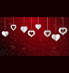 background with hanging paper hearts vector image