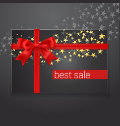 best sale card with red silk bow and golden stars vector image