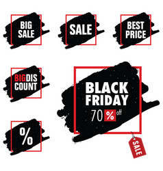 black friday with tag sale in red frame set vector image