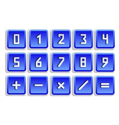 Blue numeric button set vector