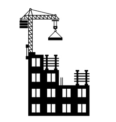 Building Construction with Crane on White vector image