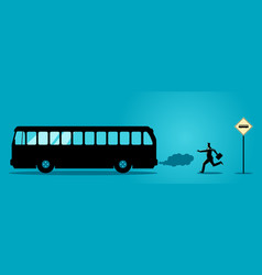 Businessman chasing the bus vector