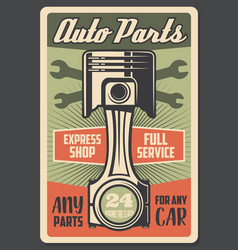 Car auto parts engine service shop retro poster vector