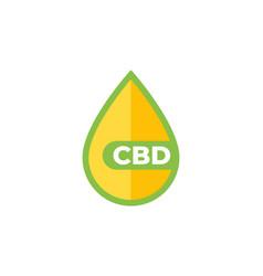 Cbd oil drop icon on white vector