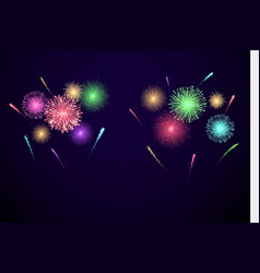 colorful festival fireworks banner for diwali and vector image