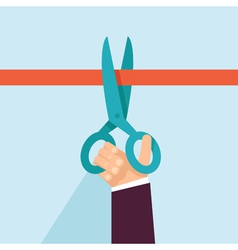 concept in flat retro style - hand holding scissor vector image