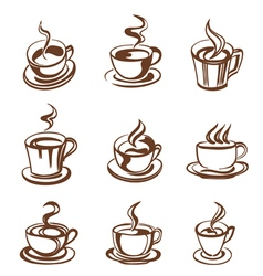 cups outline vector image