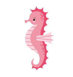 Cute cartoon pink sea horse isolated seahorse on vector