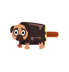 Cute funny pug dog character inside chocolate vector