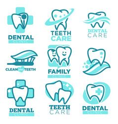 dentistry tooth icons for dental clinic vector image