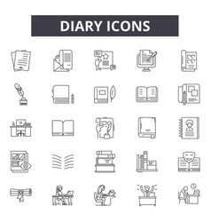 Diary line icons signs set outline vector
