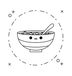 Dish with cereal kawaii style vector