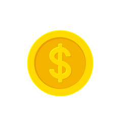 Dollar golden coin flat icon isolated on white vector