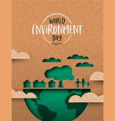 Environment day card green cutout eco city vector