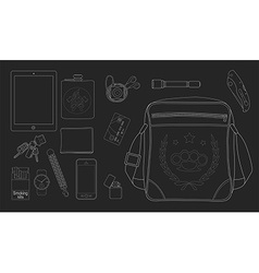 Every day carry man items set2 Chalkboard vector image