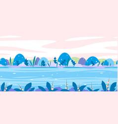 Fantastic plants game background flat landscape vector