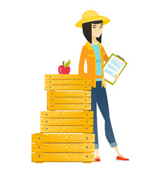 farmer holding clipboard with documents vector image