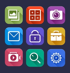 Flat App Icons Set vector image