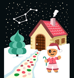 Gingerbread man invinte to come to his house vector