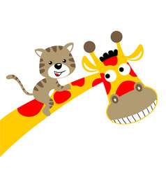 Giraffe cartoon with little cat vector