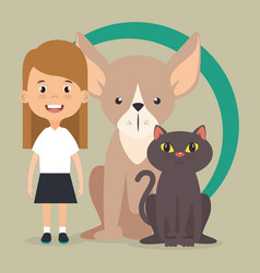 Girl with dog and cat characters vector