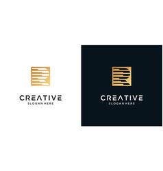 Golden letter r logo design symbol vector