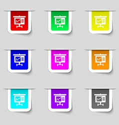 Graph icon sign Set of multicolored modern labels vector image