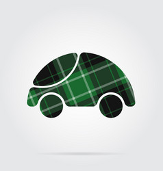 green black tartan icon - cute rounded car vector image