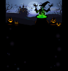 Halloween party invitation with castle vector