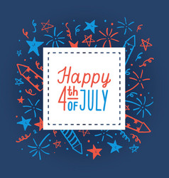 happy fourth july card template vector image