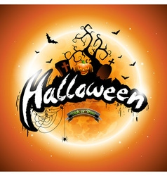 Happy Halloween with pumpkin and moon vector image