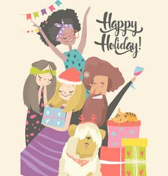 happy people celebrate an important event joyful vector image