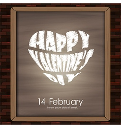 Happy valentine day typhography drawing on chalkbo vector image