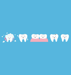 Healthy smiling white tooth icon set line crying vector