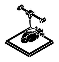 Heart d printing icon simple style vector