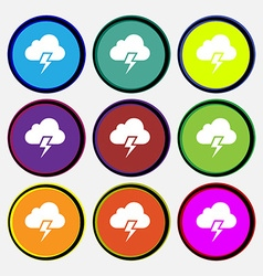 Heavy thunderstorm icon sign Nine multi colored vector
