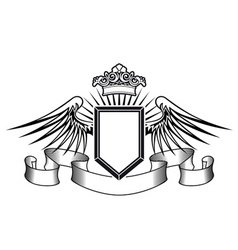 heraldry shield with angel wings ribbons and crown vector image