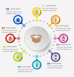 Infographic template with packaging icons vector