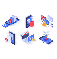 Isometric online shopping internet store business vector