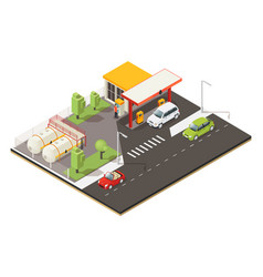 Isometric petrol fuel station concept vector