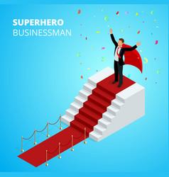 isometric super hero businessman on podium vector image