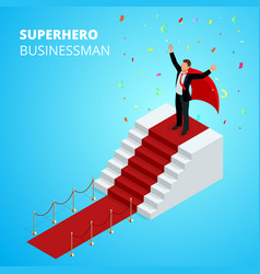 Isometric super hero businessman on the podium vector