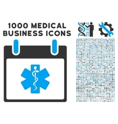 Life Star Calendar Day Icon With 1000 Medical vector image
