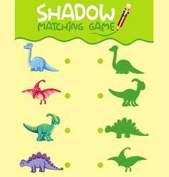 matching dinosaur shadow worksheet vector image