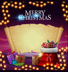 merry christmas greeting postcard with santa vector image