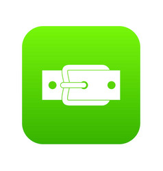 Metal belt buckle icon digital green vector