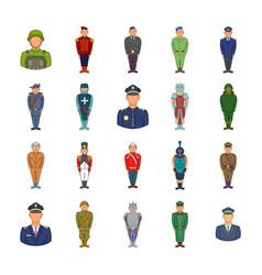military icon set cartoon style vector image