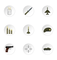 Military weapons icons set flat style vector